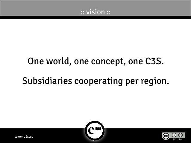 :: vision ::      One world, one concept, one C3S.    Subsidiaries cooperating per region.www.c3s.cc
