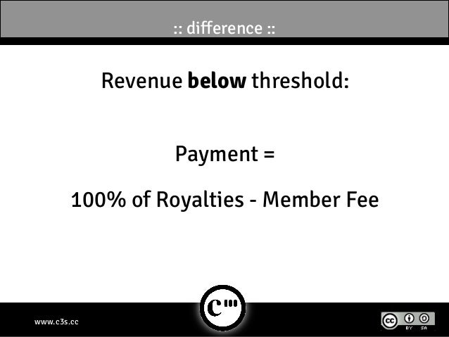:: difference ::             Revenue below threshold:                    Payment =        100% of Royalties - Member Feeww...
