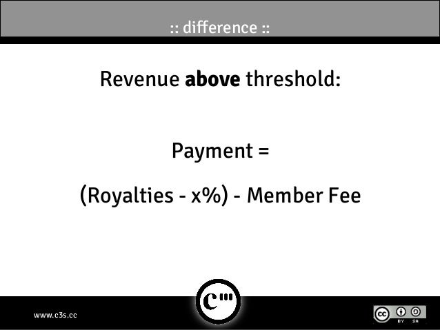 :: difference ::               Revenue above threshold:                      Payment =             (Royalties - x%) - Memb...