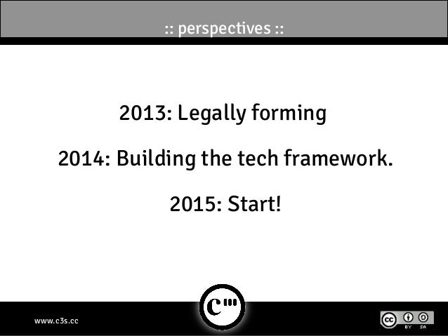 :: perspectives ::             2013: Legally forming     2014: Building the tech framework.                  2015: Start!w...