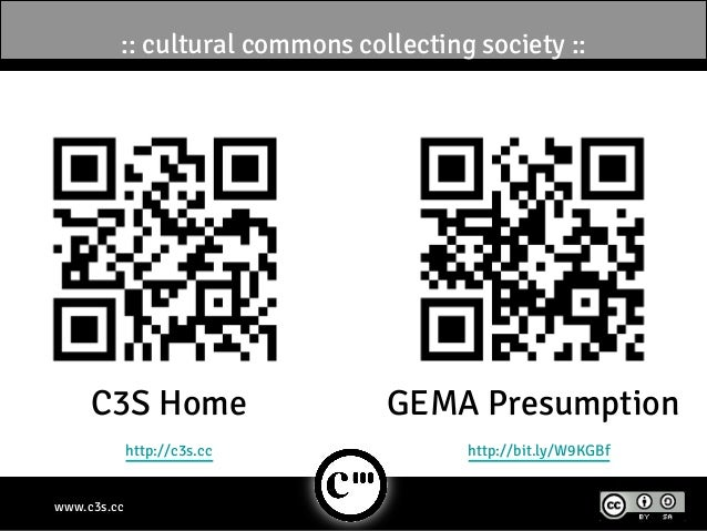 :: cultural commons collecting society ::     C3S Home                   GEMA Presumption             http://c3s.cc       ...