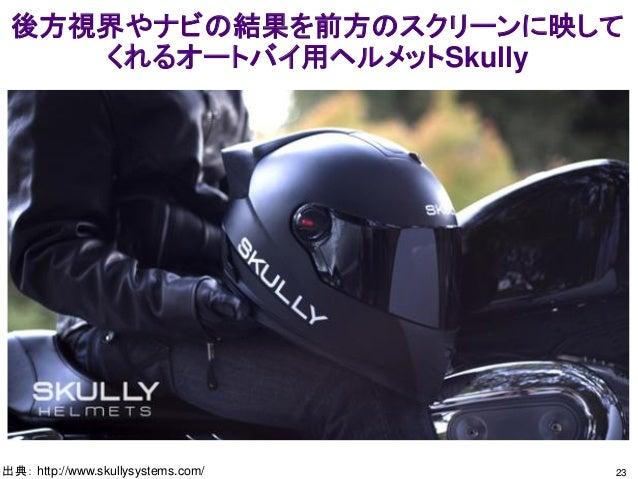 後方視界やナビの結果を前方のスクリーンに映して くれるオートバイ用ヘルメットSkully 23出典: http://www.skullysystems.com/