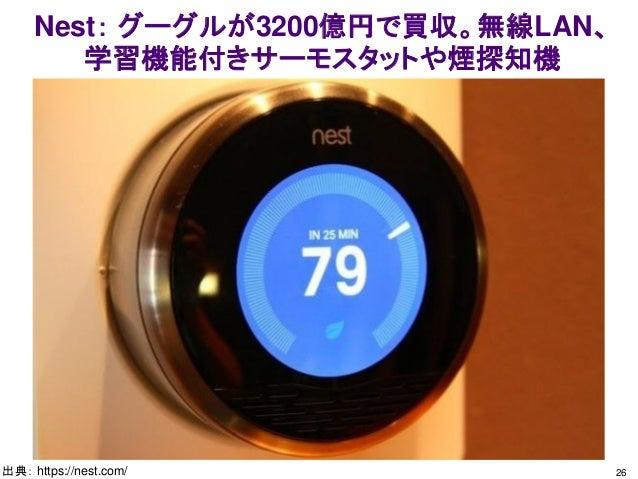 Nest: グーグルが3200億円で買収。無線LAN、 学習機能付きサーモスタットや煙探知機 26出典: https://nest.com/