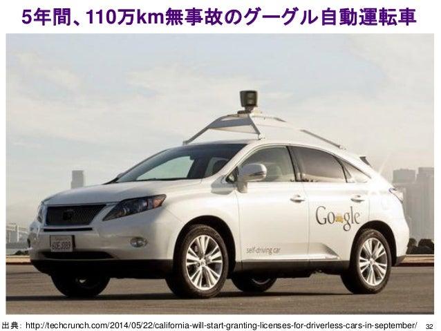 5年間、110万km無事故のグーグル自動運転車 32出典: http://techcrunch.com/2014/05/22/california-will-start-granting-licenses-for-driverless-cars...