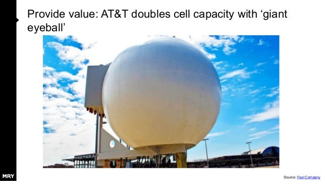 Provide value: AT&T doubles cell capacity with 'giant eyeball' Source: Fast Company