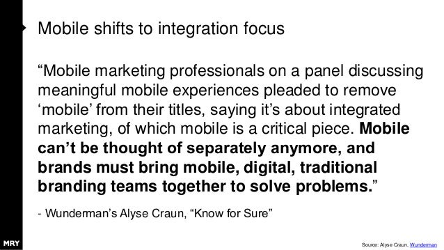 """Mobile shifts to integration focus """"Mobile marketing professionals on a panel discussing meaningful mobile experiences ple..."""