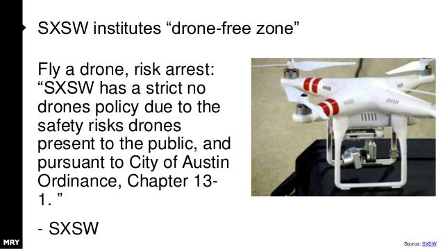 """SXSW institutes """"drone-free zone"""" Fly a drone, risk arrest: """"SXSW has a strict no drones policy due to the safety risks dr..."""