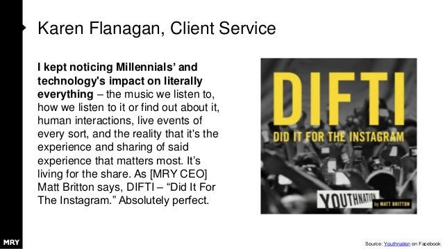 Karen Flanagan, Client Service I kept noticing Millennials' and technology's impact on literally everything – the music we...