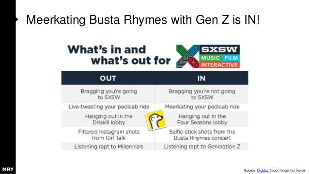 Meerkating Busta Rhymes with Gen Z is IN! Source: Digiday (much longer list there)