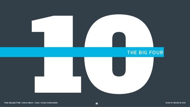 10THE BIG FOUR THE COLLECTIVE / HAVAS MEDIA + CAKE / HAVAS WORLDWIDE SXSW 10 TRENDS IN 201521