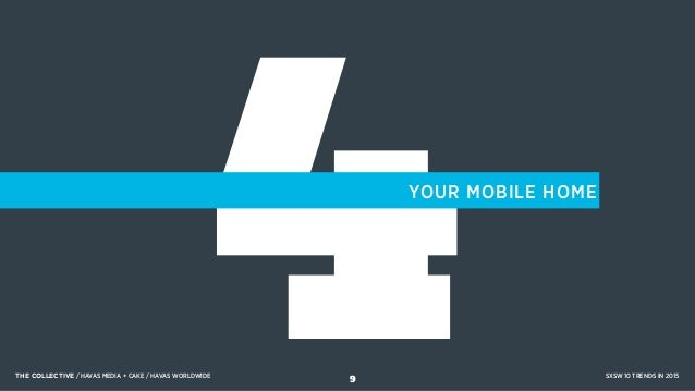 4YOUR MOBILE HOME THE COLLECTIVE / HAVAS MEDIA + CAKE / HAVAS WORLDWIDE SXSW 10 TRENDS IN 2015 9