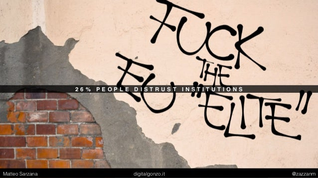 2 6 % P E O P L E D I S T R U S T I N S T I T U T I O N S Matteo Sarzana digitalgonzo.it @zazzanm
