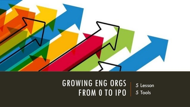 GROWING ENG ORGS FROM 0 TO IPO 5 Lesson 5 Tools