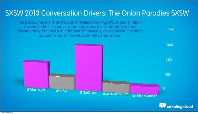 SXSW 2013 Conversation Drivers: The Onion Parodies SXSW                        The parody news site sent a pair of Tweets ...