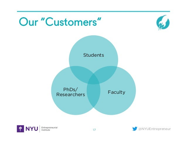 """@NYUEntrepreneur Our """"Customers"""" 17 Students Faculty PhDs/ Researchers"""