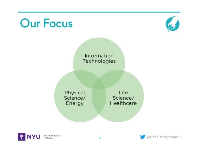 @NYUEntrepreneur Our Focus 18 Information Technologies Life Science/ Healthcare Physical Science/ Energy