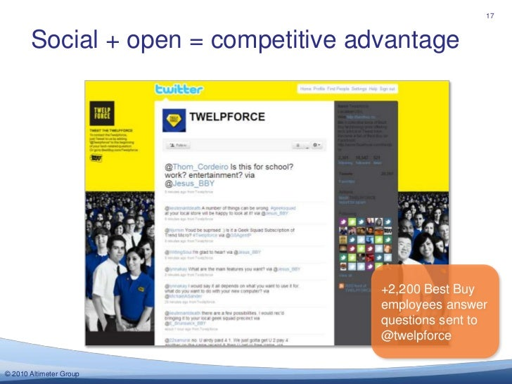 Social + open = competitive advantage<br />17<br />+2,200 Best Buy employees answer questions sent to @twelpforce <br />