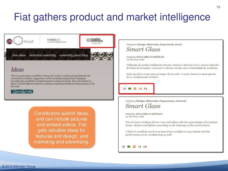 Fiat gathers product and market intelligence<br />19<br />Contributors submit ideas, and can include pictures and embed vi...