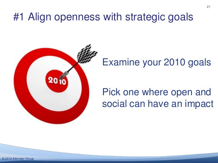 #1 Align opennesswith strategic goals<br />21<br />Examine your 2010 goals<br />Pick one where open and social can have an...