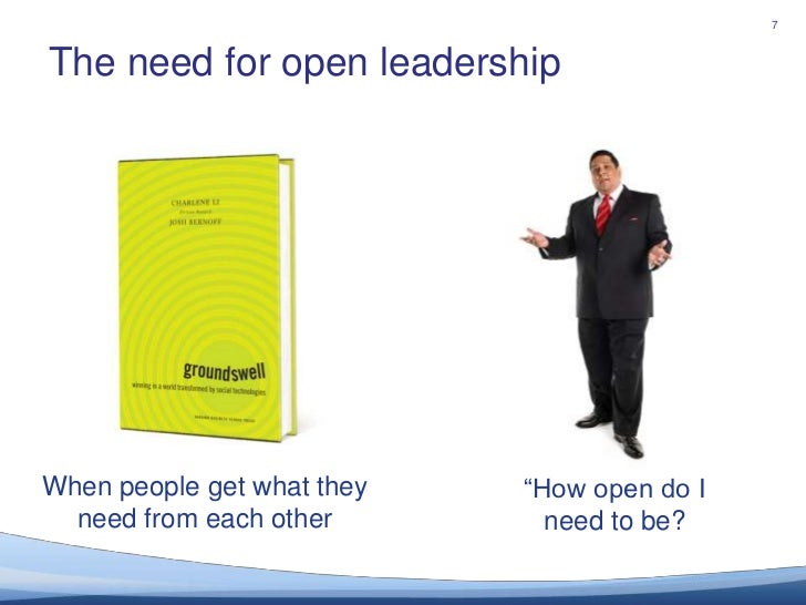 """The need for open leadership<br />7<br />When people get what they need from each other<br />""""How open do I need to be?..."""