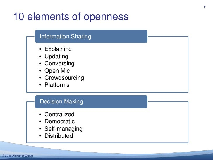 10 elements of openness<br />9<br />