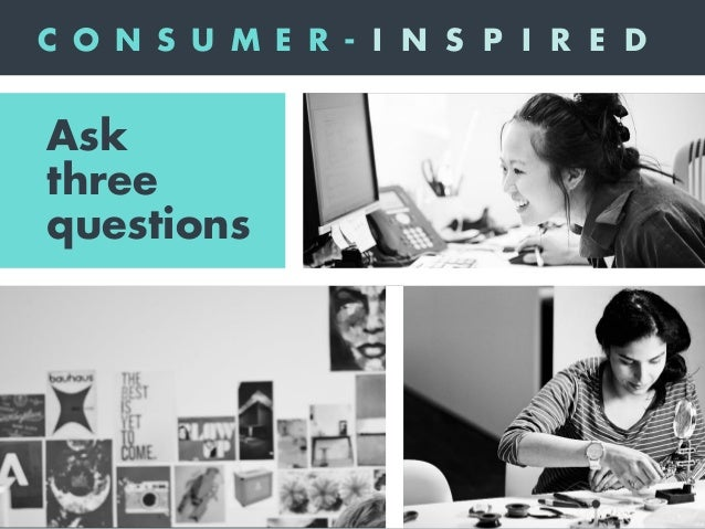 1What does my community care about? Ask three questions C O N S U M E R - I N S P I R E D