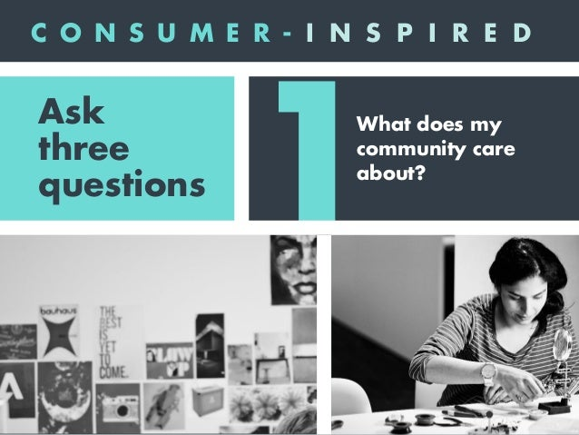 1 2 What does my community care about? Who are we authentically? Ask three questions C O N S U M E R - I N S P I R E D