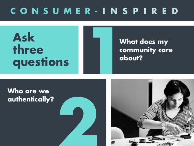 1 2 3 What does my community care about? Who are we authentically? How can we deliver an extraordinary value proposition? ...