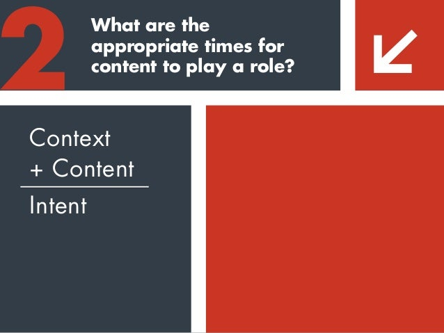 """What are the appropriate times for content to play a role? 2 Context + Content Intent """"It's about combining compelling sto..."""