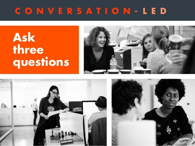 1 Does my brand have permission to play in this conversation? C O N V E R S A T I O N - L E D Ask three questions