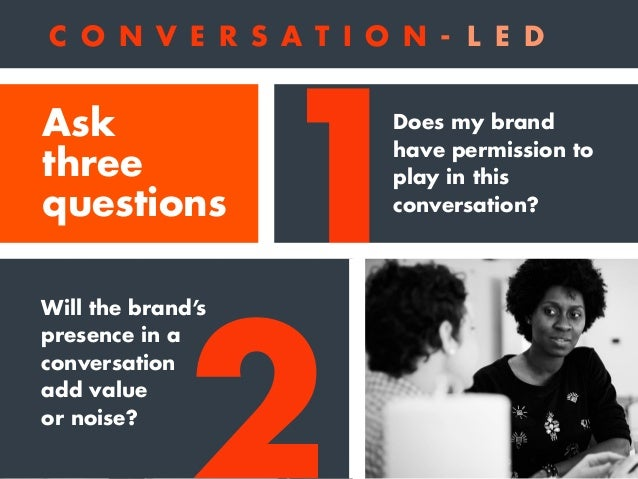1 2 3 Does my brand have permission to play in this conversation? Will the brand's presence in a conversation add value or...
