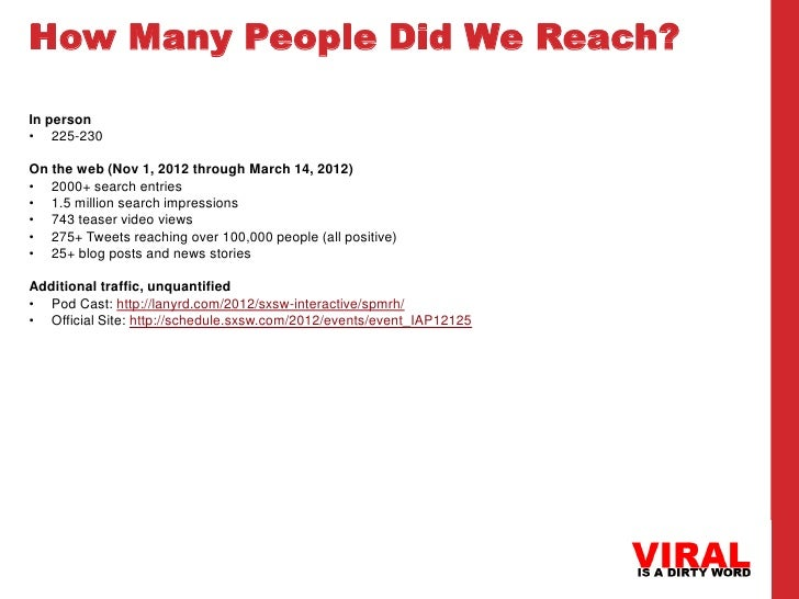 How Many People Did We Reach?In person• 225-230On the web (Nov 1, 2012 through March 14, 2012)• 2000+ search entries• 1.5 ...