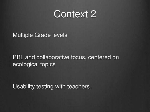 Context 3Secondary social studiesTeacher use (not the application) the focusQualitative study (interviews/ doc analysis)