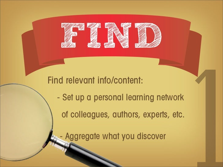FINDFind relevant info/content:  - Set up a personal learning network   of colleagues, authors, experts, etc.   - Aggregat...