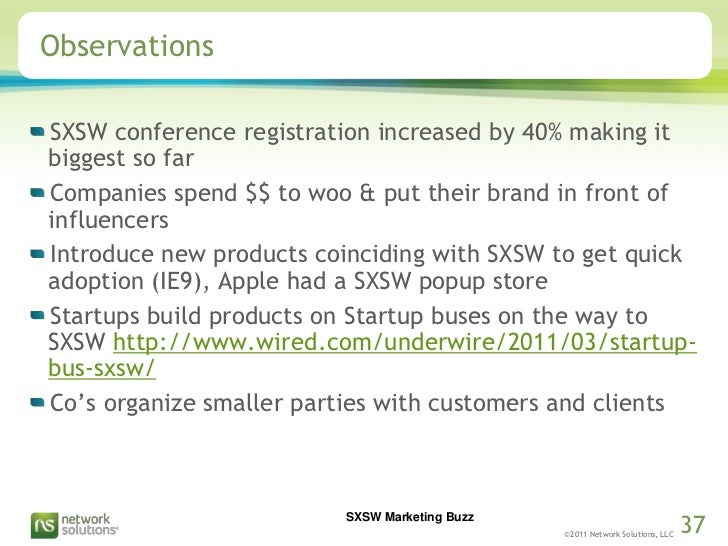 Observations<br />SXSW conference registration increased by 40% making it biggest so far<br />Companies spend $$ to woo & ...