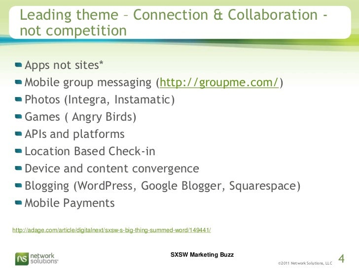Leading theme – Connection & Collaboration -not competition<br />Apps not sites*<br />Mobile group messaging (http://group...