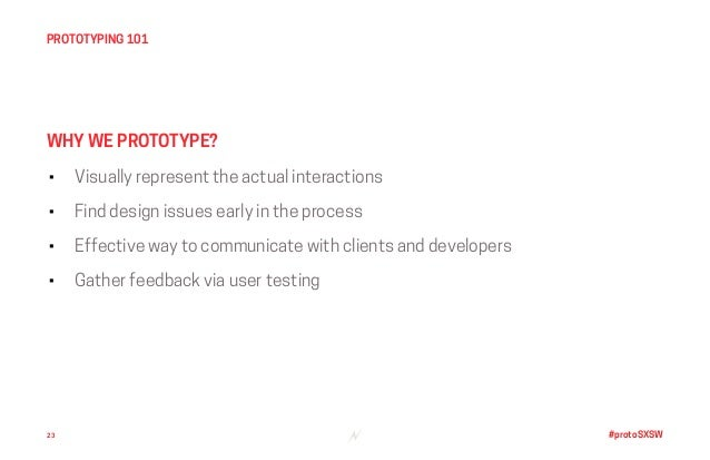 #protoSXSW • Visually represent the actual interactions • Find design issues early in the process • Effective way to commu...