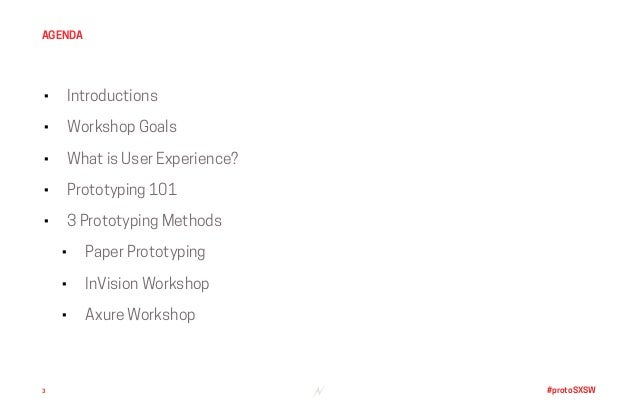 #protoSXSW • Introductions • Workshop Goals • What is User Experience? • Prototyping 101 • 3 Prototyping Methods • Paper P...