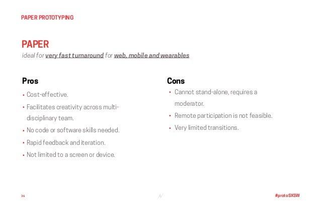 #protoSXSW36 PAPER PROTOTYPING PAPER Pros • Cost-effective. • Facilitates creativity across multi- disciplinary team. • No...