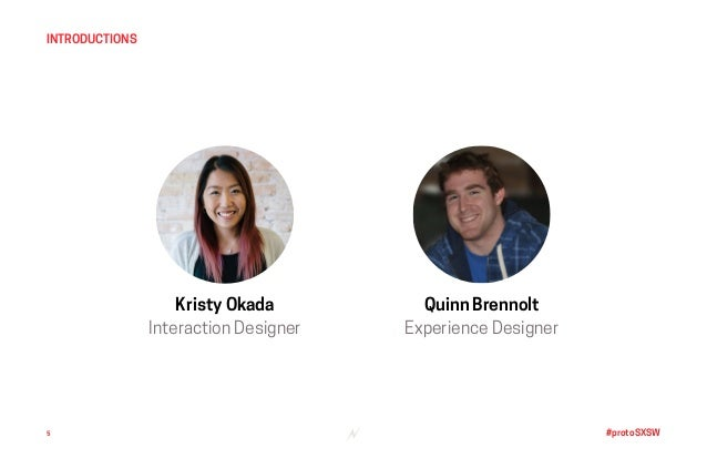 #protoSXSW5 INTRODUCTIONS Kristy Okada Interaction Designer Quinn Brennolt Experience Designer