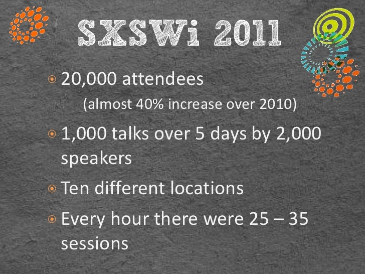 SXSWi 2011๏ 20,000 attendees    (almost 40% increase over 2010)๏ 1,000 talks over 5 days by 2,000  speakers๏ Ten different...
