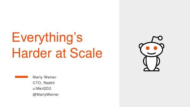 Everything's Harder at Scale Marty Weiner CTO, Reddit u/Mart2D2 @MartyWeiner