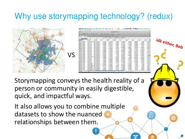 Storymapping conveys the health reality of a person or community in easily digestible, quick, and impactful ways. It also ...