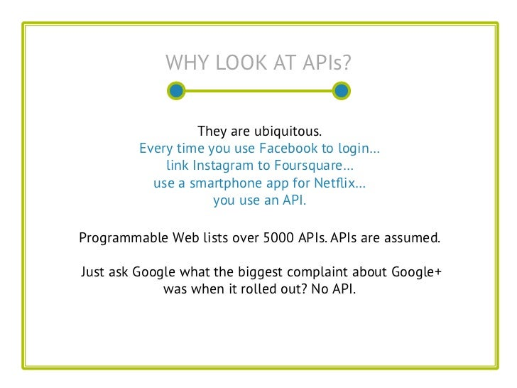 WHY LOOK AT APIs?                   They are ubiquitous.         Every time you use Facebook to login…             link In...