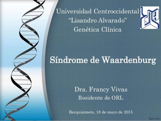 """Síndrome de Waardenburg Dra. Francy Vivas Residente de ORL Universidad Centroccidental """"Lisandro Alvarado"""" Genética Clínic..."""