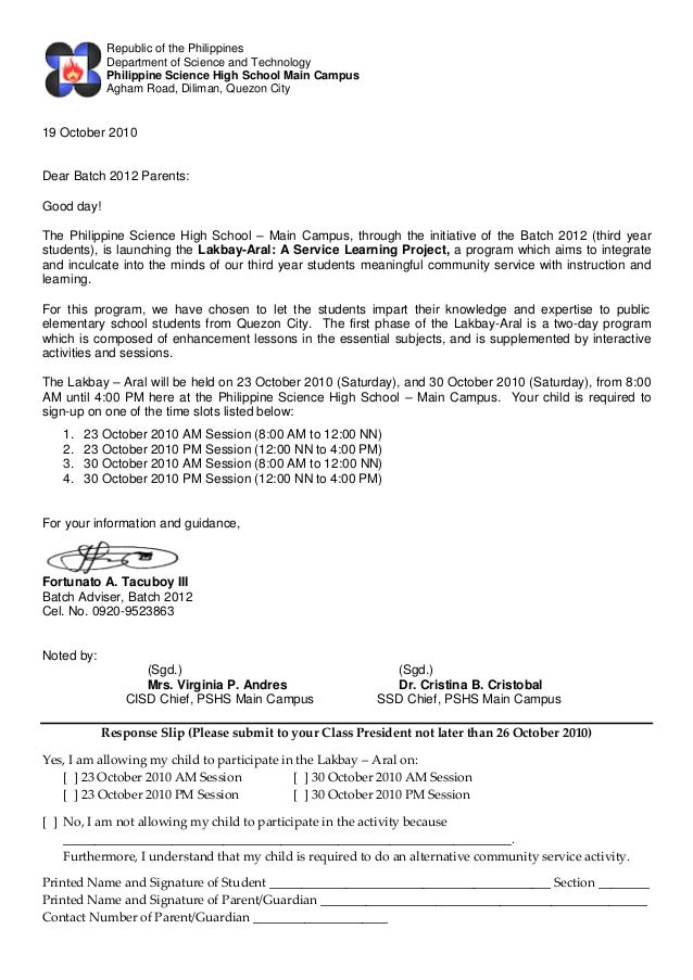 Sy1011 Letter To Parents Re Service Learning Pdf