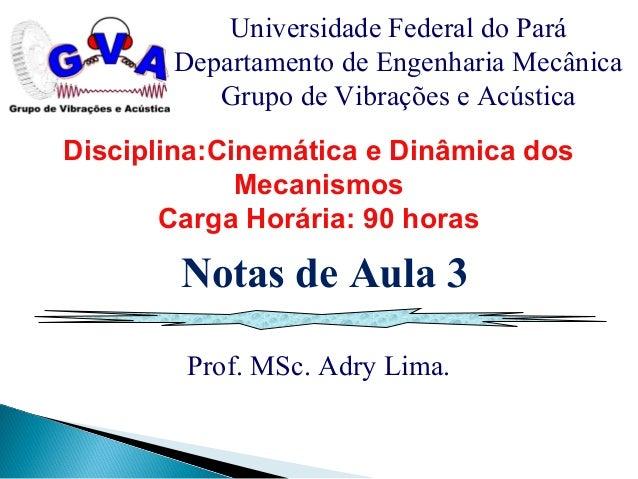 Prof. MSc. Adry Lima. Universidade Federal do Pará Departamento de Engenharia Mecânica Grupo de Vibrações e Acústica Notas...