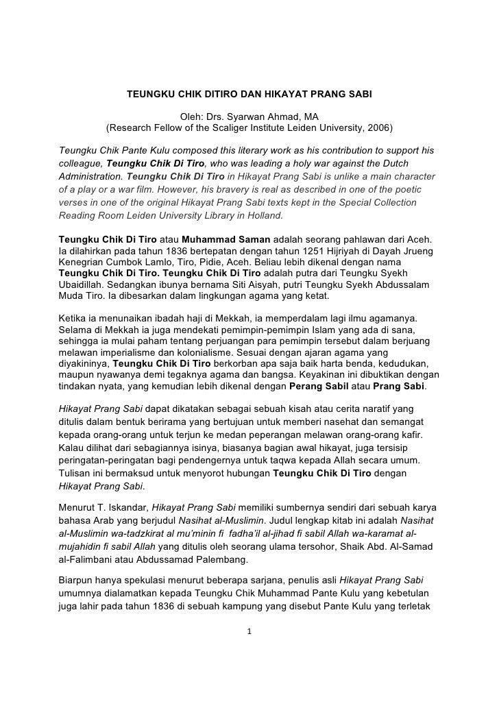 TEUNGKU CHIK DITIRO DAN HIKAYAT PRANG SABI                            Oleh: Drs. Syarwan Ahmad, MA           (Research Fel...