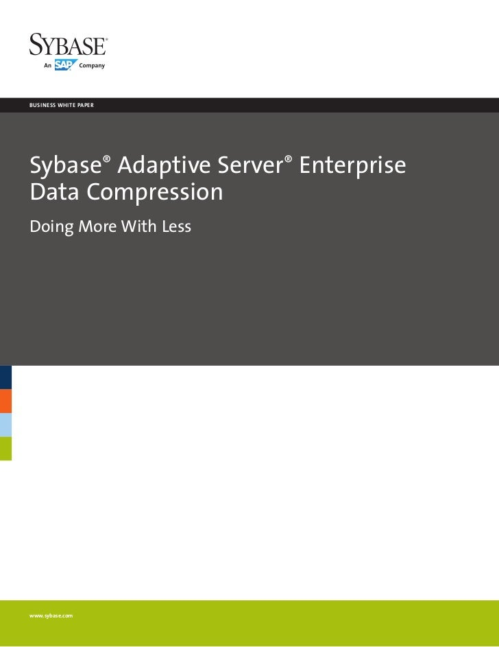business white paperSybase® Adaptive Server® EnterpriseData CompressionDoing More With Lesswww.sybase.com