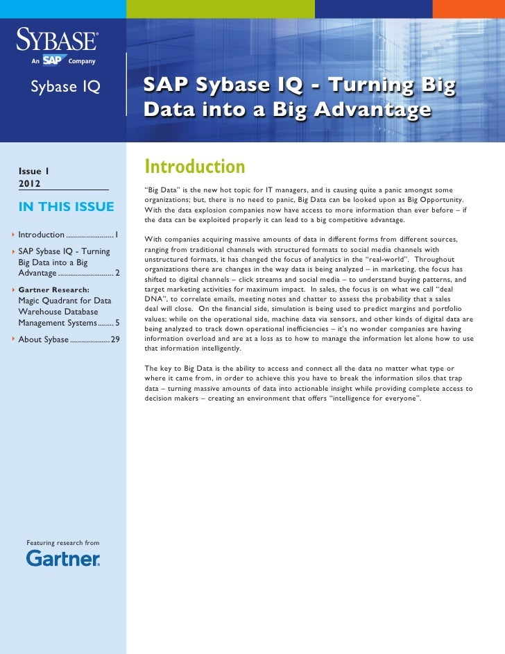 "Sybase IQIssue 1                                    Introduction2012                                           ""Big Data"" ..."